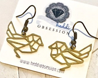 Cute brass sparrow earrings