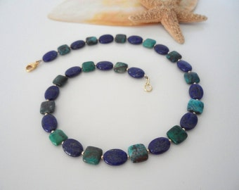 Collier Chrysocolla, lapis lazuli and gold