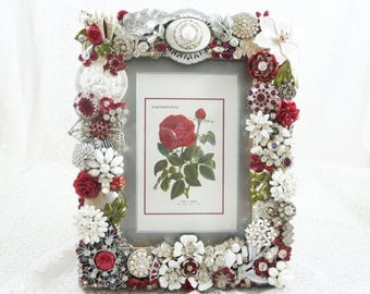 Dazzling Jeweled Picture Frame, Red, White, Vintage Jewelry, Swarovski Crystals, Garnet Crystals, Sparkle, Romantic Rose, Perfect Art Gift