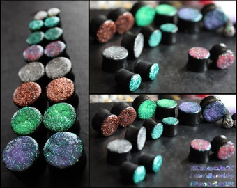 Glitter Sparkling Plugs For Stretched Ears. Shimmering Tunnels.