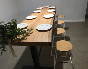 Live edge bar height Tuart slab table.