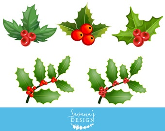 Holly clipart, mistletoe clipart, holly clip art, mistletoe clip art, holly berries, Christmas clipart, holiday clipart, xmas clipart