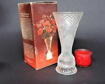 Avon Fostoria Convertible Candlestick Original Box Votive and Taper Convertible