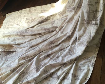 Charming Pair of French Vintage Cotton Curtains Drapes Boat & Country House Scene / Very French Traditional Design / Super Quality