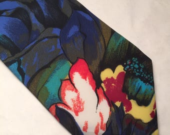 Vintage Enrico Rossini loud floral pattern polyester tie made in the U.K.