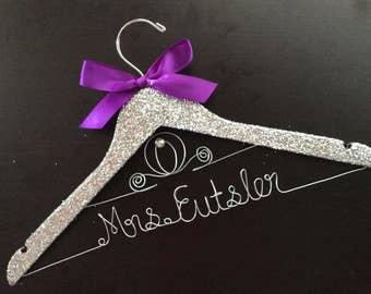 Glitter Bridal Hanger, Disney hanger, Princess Wedding Hanger, Cinderella fairytale wedding, Bridesmaid Hang,Mrs Hanger,wedding shower gift