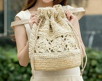 Straw handbag, Beach bag