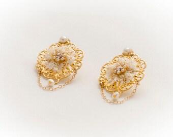 Romantic Gift, Gold Pearl Earrings, Gold Chandelier Earrings, Valentines Earrings, Vintage Style Earrings, Valentines Jewelry, Lace Earrings