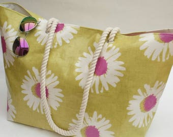 Large Beach Tote in Daisy oilcloth, Oilcloth bag, 100% water resistant & wipe clean, Gift for her, Oilcloth beach tote, Large beach tote,