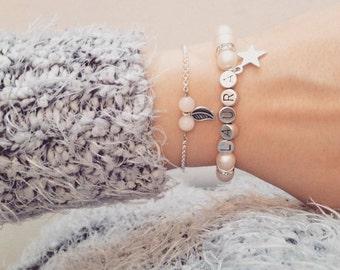 Perlenarmband Armband Name personalisiert Buchstabe Schwesterherz Schwester Armband Geschenk Schmuck