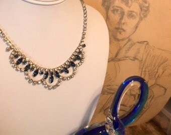 Vintage 1950s Art Deco sapphire and diamond paste prong set necklace(84)
