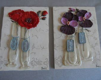 "REDUCED Inspirational Wall Plaques Wall Decor Red Poppies ""Imagine""""Inspire"" Purple Pansies ""Believe""""Dream""  1277"