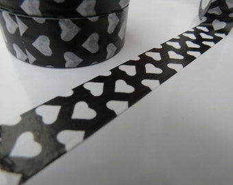 Black and White Hearts Washi Tape