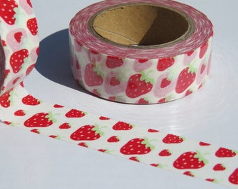 Strawberry Washi Tape. 15mm x 10m. Red and White Strawberries Tape. Strawberry Planner Supplies. Strawberry Scrapbook Tape