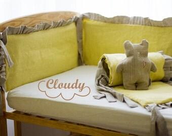 Linen crib bumper Organic crib bumper Breathable cot bumper Cradle bumper Nursery Cot Baby Crib bedding Baby bed bumper Nursery bumper