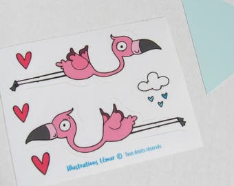 Unicorn, pink flamingos, small repositionable reusable stickers, wall miniatures, gifts, party, birthday, shower