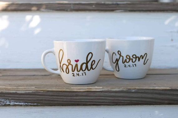 Bride and groom matching mugs for new wedding or bridal shower gift - newlyweds