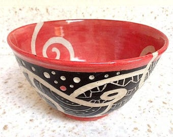 Ceramic bowl with hand carved geometric designs, handmade stoneware pottery bowl in red, black, gray, life on life's terms bowl