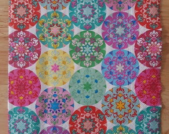 Set of 4 Multi Mandala Square Paper Lunch Napkins Decoupage Crafts Collage Scrapbooking #135