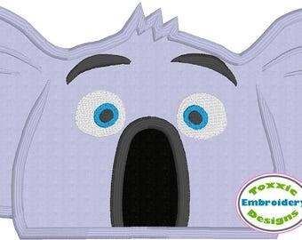 Koala Peeker Machine Embroidery Appliqué Design 5x7