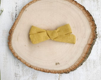 Mustard Linen Bow - School Girl Bows - Baby Bow - Toddler Clip - Baby Headband - Handmade Bow- Pigtail Set