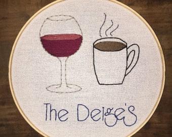 """Personalized Drinks Hoop - Hand Embroidery - 8"""" Hoop"""