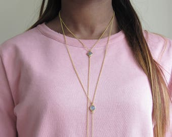 Giselle Double Lariat Necklace - Labradorite necklace, lariat chain, multi strand chain, sterling silver, bezel necklace, gold necklace
