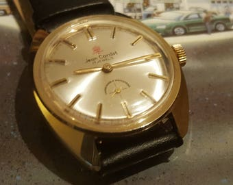 Vintage 1970's Jean Cardot Gold Tone 17 Jewel Manual Wind Watch (Serviced and Polished)