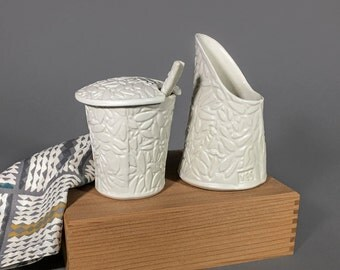 Hand built Cream & Sugar Set with Spoon, White with Impressed Leaf Pattern