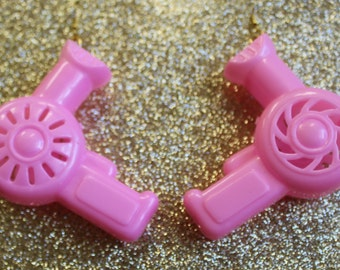 Pink Hair Dryer Earrings