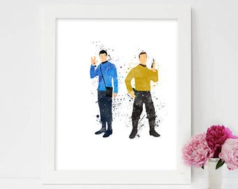Spock -Star Trek- Wall Art- watercolor painting- cartoon- Boys room decor, Kids decor, Home wear, Mr Spock of Star Trek