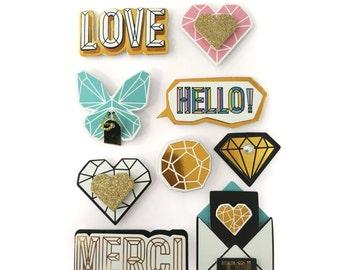 9 Stickers mindset 3D - Design - Design - adhesive thank you Stickers stickers - Stickers 3D - Relief Scrap