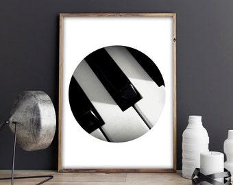 SALE! Piano, Music print, Black and White, Circle Print, Photo Print, Photography, Printable, Instant, A4, Printable a4