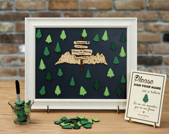 Wedding Guest Book Alternative - Nature, Forest, Hiking, Mountain Theme / Personal Customizable Unique Sign In by TokenGram