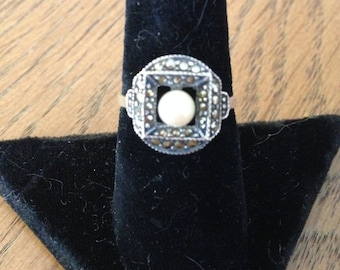 Sterling Silver Pearl Marcasite Ring