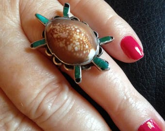 Turtle Turquoise Shell Ring