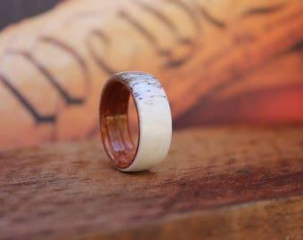 Elk Antler Wood Ring - Bloodwood Antler Wedding Band Wood Ring  Wooden Ring Men Engagement Ring Woman Anniversary Ring