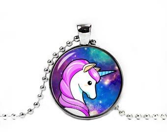 Unicorn Necklace Unicorn Pendant Kawaii Pendant Photo Glass Pendant Fandom Jewelry