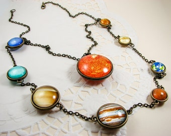 Solar system necklace, Statement layered necklace, Planet necklace, Space jewelry, Universe necklace, Unique jewelry, Double necklace, glass