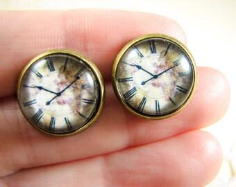 Clock earrings, Everyday earrings, Casual earrings, World map earrings, vintage map jewelry, Brass stud earrings, Watch earrings, Glass dome