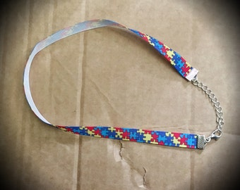 Autism Awareness Charity Ribbon Choker Necklace