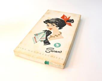 Vintage - Handkerchiefs - New in Box - Swan Handkerchiefs - Pastel Checked Handkerchiefs - Womens Handkerchiefs - Retro / Vintage