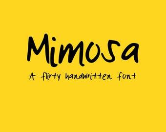 Mimosa - Handwritten font - Adorable Font - Pretty Flirty font - Wedding font - Digital font download - SVG file