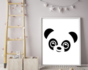 Panda print,Animal print,Peekaboo Animal Print,Panda Nursery Print,Nursery Decor,Wall Art,Home Decor,Instant Download Panda,Instant Download