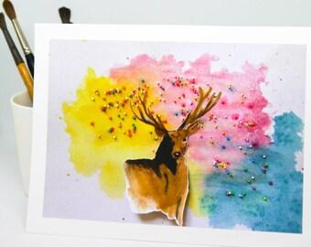 Watercolour Deer - PRINT