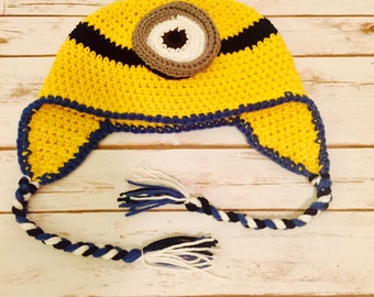 Stuart the One Eyed Minion, Earflap Hat, Minion Beanie