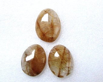 3 pieces Pair Gold Rutilated Quartz Cabochon Rosecut, Rosecut Cabochon, Rosecut Uneven Gemstone 24x17.5 mm - 1 pcs Or 21x16 mm -2 pcs
