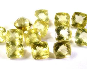 10 pieces lot 10mm LEMON Cushion Checker Cut Faceted Calibrated Size Gemstone