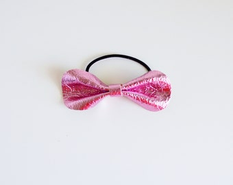 Metallic Pink Leather Pony Bow (small) // Leather Bow // Metallic Pink Leather Bow