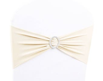 Ivory Elasticity Stretch Chair cover Band with Buckle Slider Sashes Bow Decor